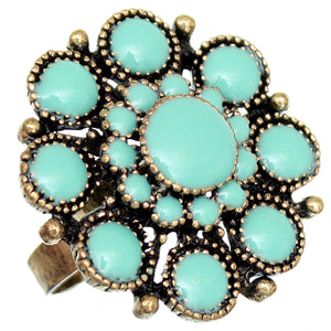Turquoise Antique Circular Floral Topper Adjustable Ring