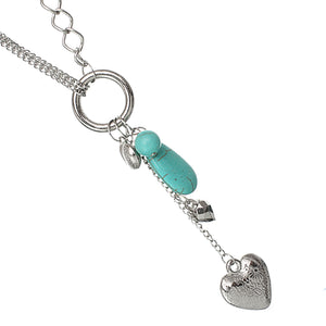 Turquoise Beaded Heart Chain Necklace Set