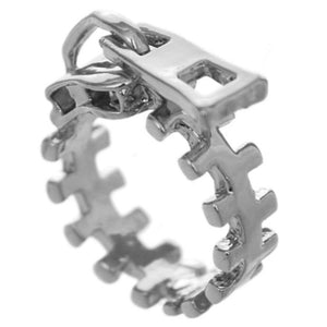 Silver Zigzag Zipper Pull Statement Ring