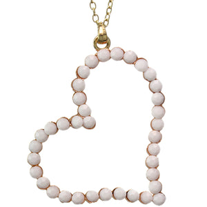 White Beaded Heart Charm Chain Necklace