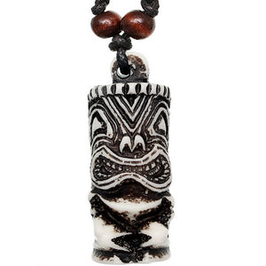 White Black Hawaiian Tiki Totem Nylon Necklace