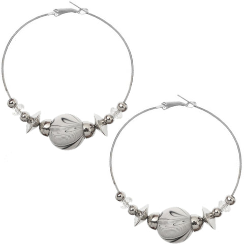 White Beaded Medium Hoop Earrings