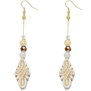 White Ethnic Carved Pattern Bead Drop Earrings