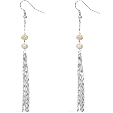 White Beaded Fireball Chain Earrings