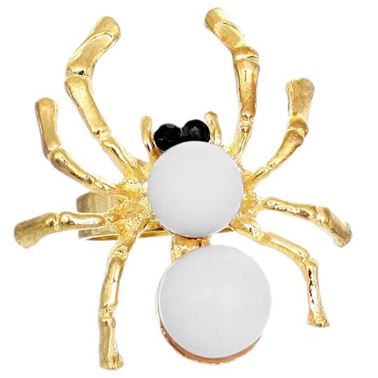 White Beaded Spider Adjustable Ring