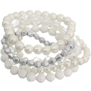 White 5-Piece Faux Pearl Stacked Bracelets