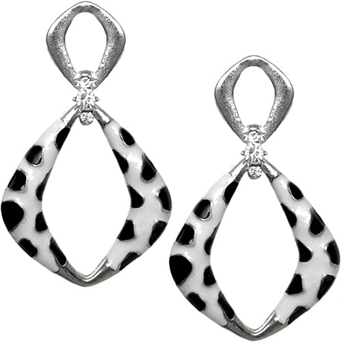 Silver Black Rhinestone Cheetah Post Earrings