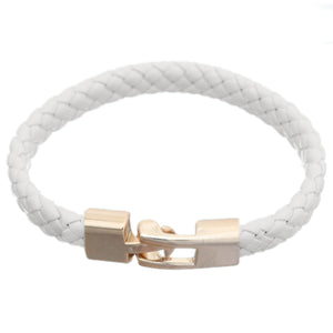 White Braided Woven Leather Latch Bracelet