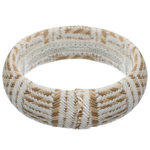 White Knit Canvas Bangle Bracelet