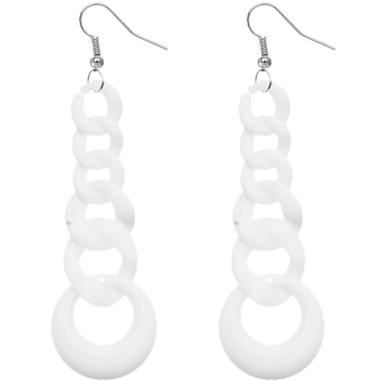 White Gradual Chain Link Earrings