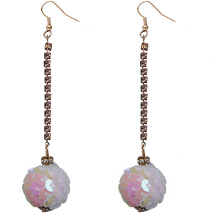 White Iridescent Confetti Ball Chain Earrings