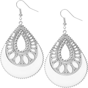 White Open Teardrop Earrings
