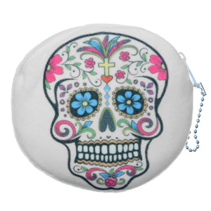 White Day of the Dead Skull Zipper Wallet