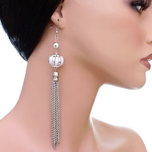 White Multi Chain Drop Earrings