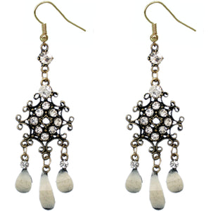 White Elegant Chandelier Gemstone Earrings