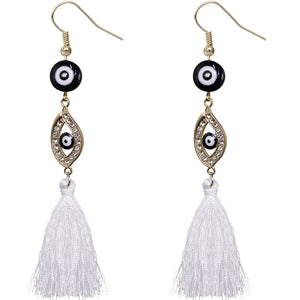 White Evil Eye Beaded Tassel Drop Earrings