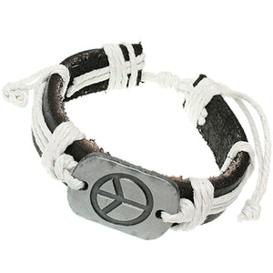 White Faux Leather Peace Adjustable Bracelet
