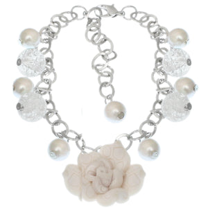 White Glass Ball Flower Charm Chain Bracelet