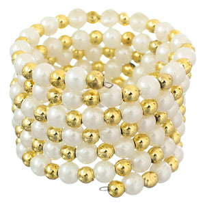 Gold White Faux Pearl Coil Stretch Bracelet