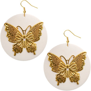 White Gold Wooden Butterfly Dangle Earrings