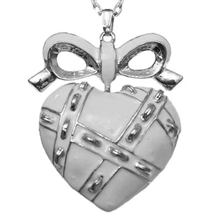 White Heart Bow Charm Necklace