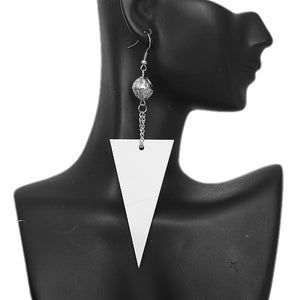 White Inverted Triangle Drop Chain Dangle Earrings