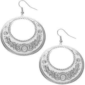 White Large Texture Design Hoop Earrings