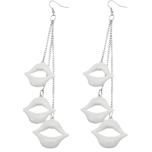 White Plucker Lips Earrings