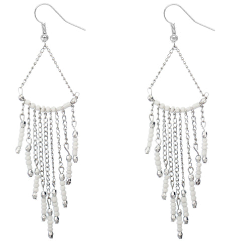 White Long Beaded Dangle Earrings