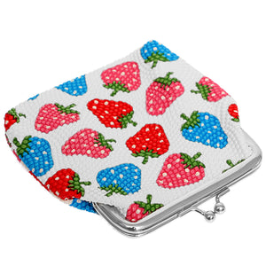 White Multicolor Strawberry Kisslock Coin Purse
