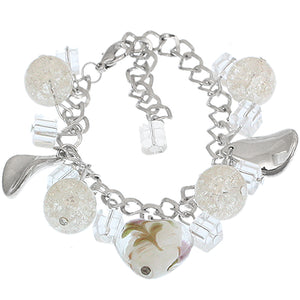 White Murano Glass Heart Charm Chain Link Bracelet