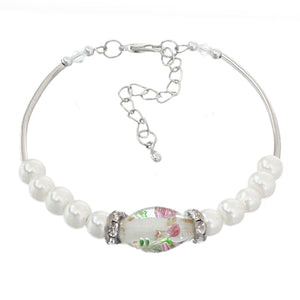 White Murano Faux Pearl Beaded Bracelet
