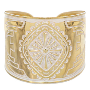 White Double-Sided Art Deco Metal Cuff Bracelet