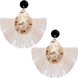 White Oval Fan Tassel Earrings