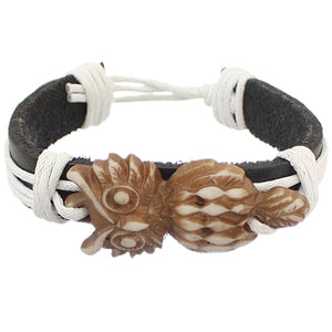 White Faux Leather Hoot Owl String Bracelet