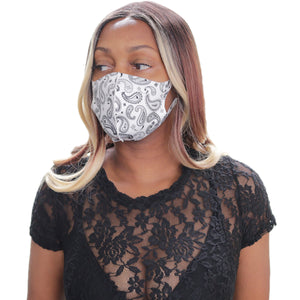 White Paisley Face Mask
