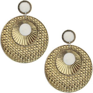 White Large Beaded Thin Disc Earrings