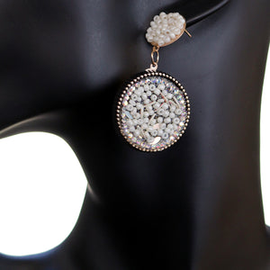 White Seed Bead Round Flat Disc Earrings