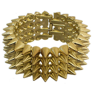Gold Four Row Cone Spike Hinged Bracelet