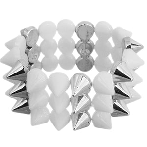 White Three Row Cone Spike Stretch Bracelet