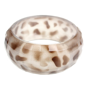 White Spotted Cheetah Hinged Bracelet