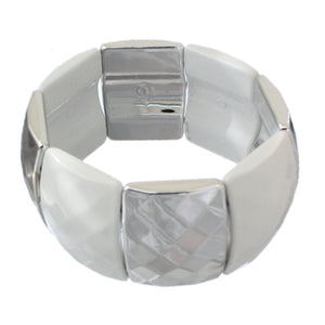 White Two Tone Square Stretch Bracelet