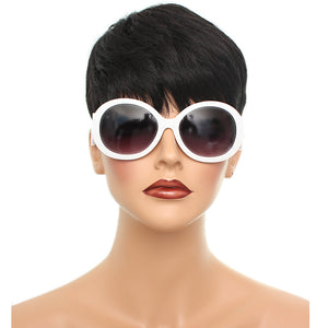 White Designer Inspired Round Swirl Sunglasses