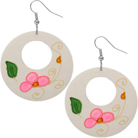 White Wooden Hand Painted Floral Earrings