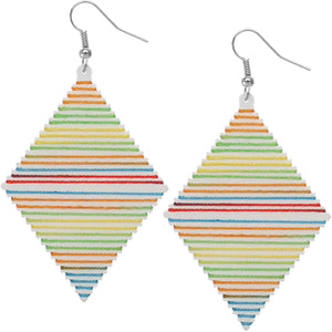 White Multicolor Wooden Thread Wrapped Earrings
