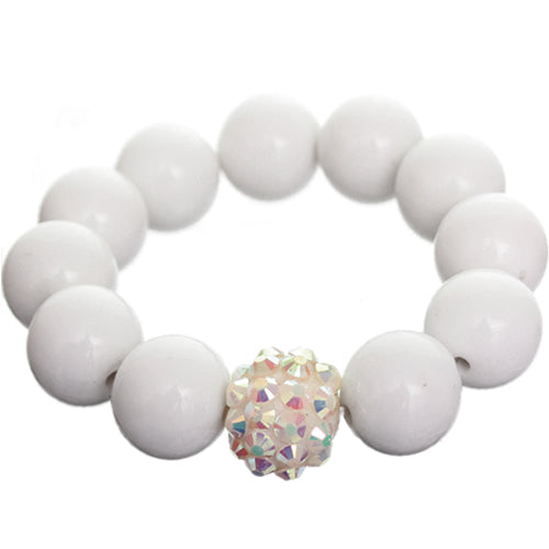 White Large Fireball Beaded Stretch Bracelet