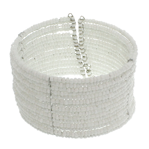 White Beaded Sequin Coil Cuff Bracelet