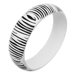 White Wooden Zebra Print Bangle Bracelet