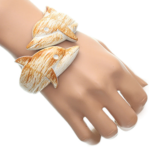 White Dolphin Textured Hinged Bracelet