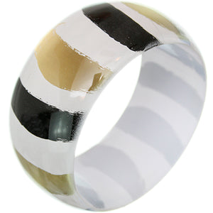 White Painted Striped Bangle Bracelet